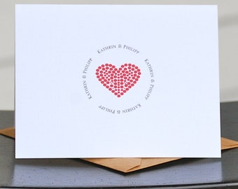 Hearts, Heart Thank You Cards, Heart Wedding  Cards, Bridal Shower Thank You Cards, Thank You Cards, Heart Thank You Notes