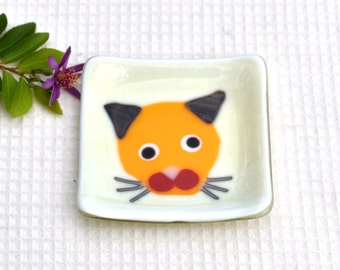 Fused glass art plate, small, square, cat, pet, whimsical, almond, orange, grey