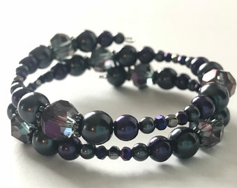 Memory Wire Bracelet, Black and Dark Purple