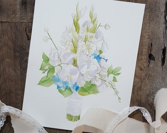 Custom Bouquet Watercolor Painting - Custom Bouquet Painting - Wedding Gift - Wedding Decor - Floral Painting - Watercolor Painting