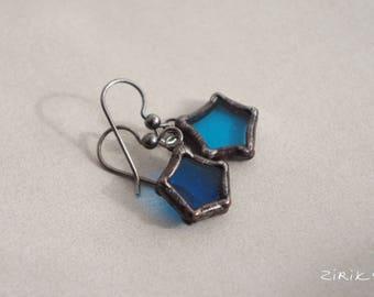 Stars earrings. Glass. Silver