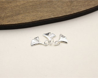 Sterling silver Ginkgo leaf charms,Sterling silver Fan leaf charms