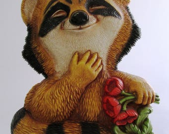 Vintage Raccoon Wall Plaque. Raccoon Shaped Wall Hanging, Children's Decor, 7497, Pair of Raccoons Holding Flowers, Smiling Raccoons, 1977