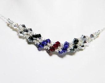 "Once Upon a Time Evil Queen Inspired Swarovski Crystal Necklace Beadweaving Sterling Silver -  ""Regina"""