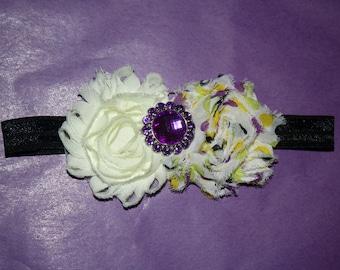 Shaggy Flower Purple Rhinestone Flower Boutique Headband (13.5 inches NB-6M)
