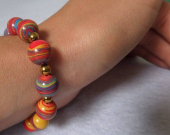 Multicolor natural stone bracelet, handmade bracelet, gift for her. Elastic bracelet. Bracelet