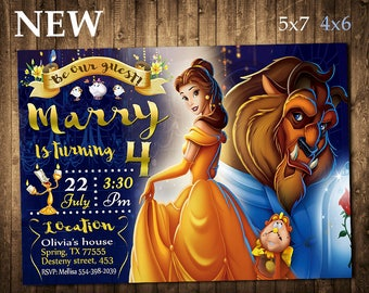 Beauty and the beast Invitation, Beauty and the beast Birthday Invitation, Beauty and the beast, Princess Belle, Belle Invitation