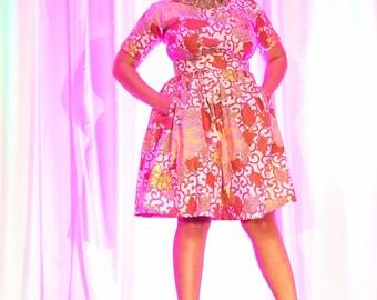 High Waist Rose Gold Print African Wax Print Skirt