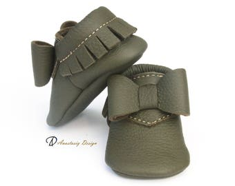 Olive Green Baby Bow Moccasins, Baby Girl Moccasins, Toddler Moccasins, Baby Girl Shoes, Green Shoes