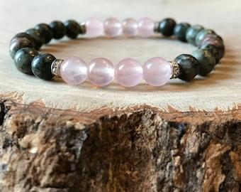 Fertility Bracelet, Ivf Bracelet, unakite bracelet, rose quartz bracelet, fertility crystals, pregnancy bracelet, ivf bracelet, rose quartz