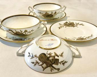 Handpainted Bouillon Soup Bowls Saucers, RARE Tiffany & Co Private Stock, Le Tallec Limoges Attributs De Musique Double Handled Broth Bowls