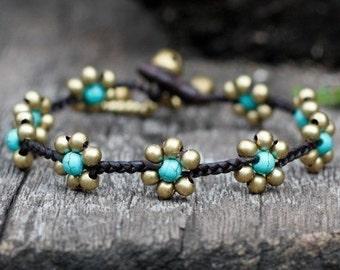 Turquoise Flower Braided Brass Bracelet