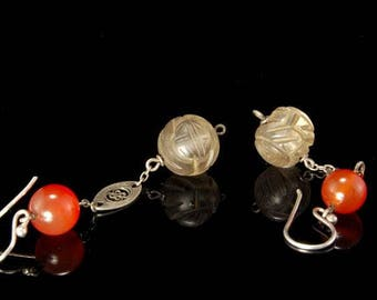 2 Old Chinese Carved Crystal Shou Beads Carnelian Sterling Silver Earrings