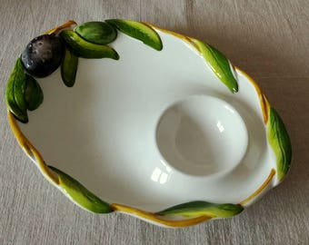 Vintage Porcelain Hand Painted Olive Plate, Made in Italy
