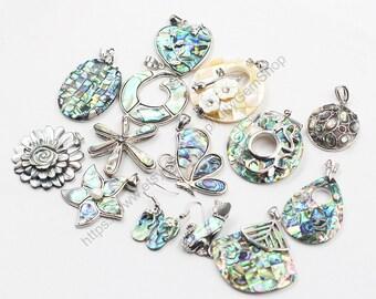 Abalone Shell Pendant -- Sea Paua Shell Pendant For Necklace Making YHA-185