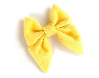Yellow hair bow - sailor bows, hair bows, bows, hair clips, fabric bows, hair bows for girls, baby bows, girls hair bows, hairbows, toddler