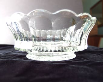 Clear Glass Candy Bowl, Vintage Panel Bowl with Starburst