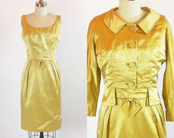 "Vintage 1950s Shimmering Satin Gold Dress | Bolero | 26"" Waist"