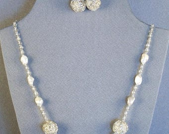 Wire Work Beads on a Faux Pearls Necklace and Earring Set // Festive // Special Occasion // Delicate // Elegant // New Style Beads