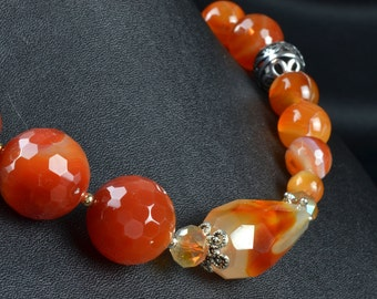 Red Agate and Carnelian Womens Necklace