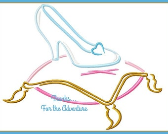 Princess Cinderella  Glass Slipper Sketch Digital Embroidery Machine Design File 4x4 5x7 6x10