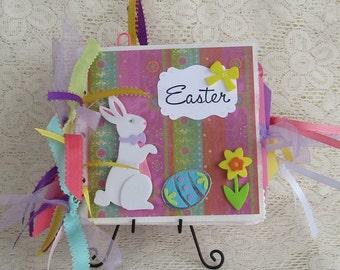 EASTER PAPER BAG Album Scrapbook Album Holiday Album, Tiny Album, Mini Album Paper Bag
