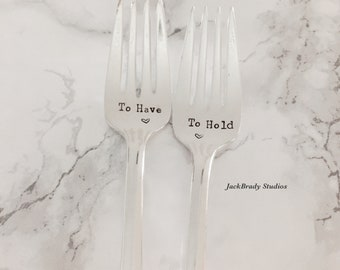To Have/To Hold Most Personalized wedding forks-Custom vintage hand stamped forks