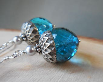 Acorn earrings silver aqua blue acorn drop earrings nature sea ocean glass 925 sterling silver dangle earring forest beaded sapphire blue