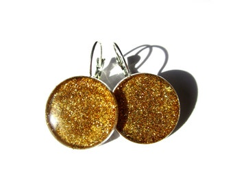 GOLD GLITTER Dangle EARRINGS - Teen gift - Gift for women - Girlfriend - Glitter earrings - Sparkling earrings - Holiday jewelry line