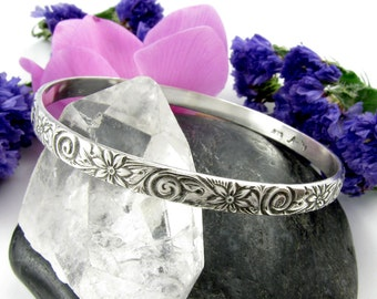 Patterned Sterling Silver Bangle Bracelet - round silver Bangle - flower and spiral Sterling Bangle - size Large Medium or Small Bangle