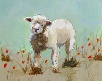 Fuzzy Lamb, painting on wood