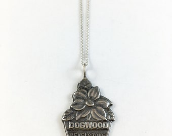 Dogwood Charm, Dogwood  Necklace, Revelstoke Necklace, Dogwood, Canada Jewellery, Canada Necklace, Spoon Necklace, Spoon Jewelry