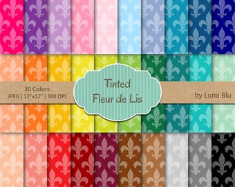 "Fleur de Lis Digital Paper pack: ""Tinted Fleur de Lis"" digital paper bundle, Fleur de Lis scrapbook paper, commercial use, mega pack"