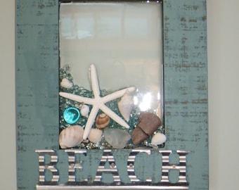 BEACH Starfish and seaglass wall art
