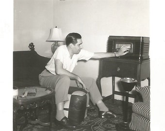 "Vintage Snapshot ""Tuning In"" Old Radio Tube Radio Ashtray Vintage Home Decor Found Vernacular Photo"