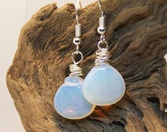 Smooth opalite earrings, briolette opalite earrings, teardrop earrings, briolette earrings, opalite briolettes, glowing opalite earrings.