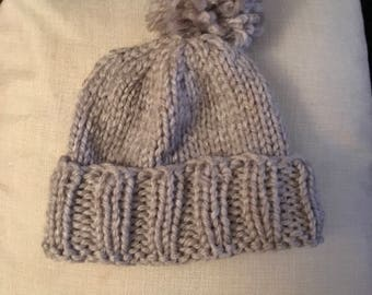 Homemade Knitted Woolly Bobble Hat
