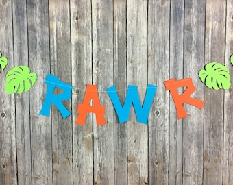 RAWR Garland, Dinosaur Party, Safari Party, Zoo Party, Baby Shower, Birthday Decor, Photo Prop