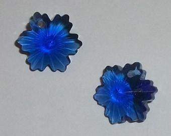 Clearance Snowflakes Blue Crystal Pendants 14mm Celestial crystal pendants 2 pieces