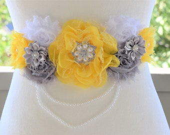 Yellow Maternity Sash, Grey Yellow Flower Belly Sash, Grey Elephant Flower Sash Belt, Baby Shower Sash, Yellow Grey Sash Belt, Custom Sash