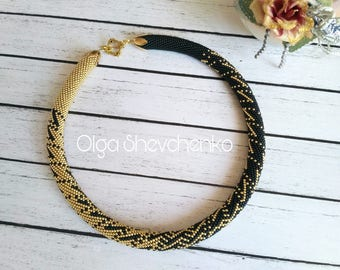 Gold Black beaded necklace Seed Bead necklace Classic Bead jewelry Bead Crochet necklace Statement necklace for women Elegant necklace Gifts