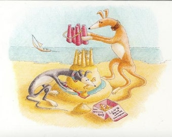 Greyhound & Galgo Cartoon Greeting Cards