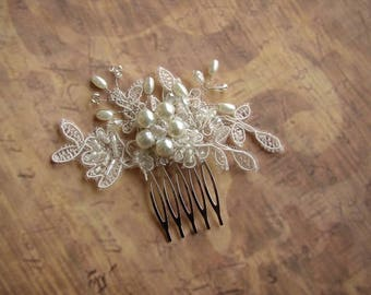 Lace Hair Piece, Wedding Hair Comb, Pearl Crystal, Small Hair Accessories, Bridal Ivory Headpiece, Bridal Hair Comb, Beaded Lace Hair Piece