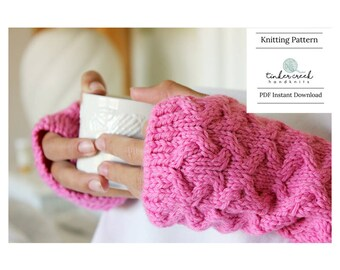 Arm Warmers Pattern, Fingerless Gloves Knitting Pattern, Winter Knit Gloves Pattern, Pink Winter Gloves, Knitted Gifts Ideas, Texting Gloves