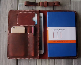Hand Stitched A4 Paper Leather Portfolio, A4 Paper Case File Document Sleeves - Unique Design From CPS