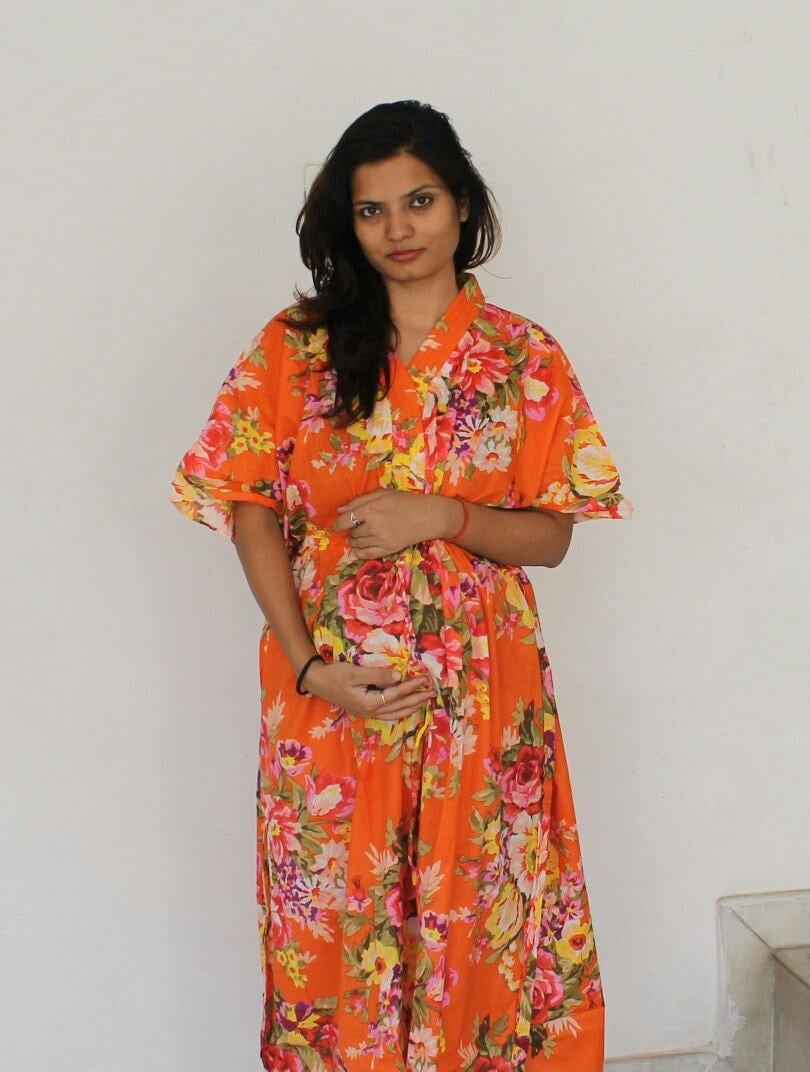 Orange maternity dress delivery gown hospital kaftan zoom ombrellifo Choice Image