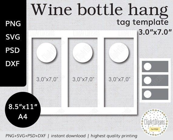 X Wine Bottle Hang Tag Template Png Psd Formats Gift Tags Label