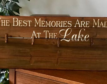 The Best Memories Are Made At the Lake Wooden Pallet Clothespin Frame
