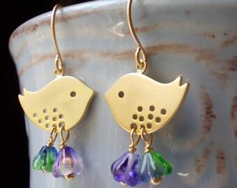 Little gold bird earrings drop earrings handmade for women tree sparrow flower glass bead dangle girls gift nature inspired purple lavender