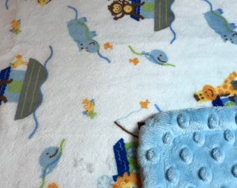 Minky Blanket - Noah's Ark Print Minky with Light Blue Dimple Dot Minky Backing - great for baby or toddler